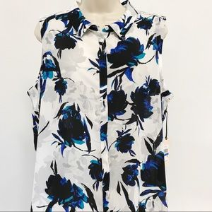 Ivanka Trump Duster Top XL Floral Button Front